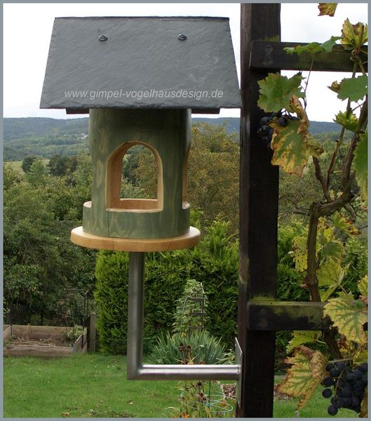 Gimpel-Vogelhausdesign – Hohlstamm Schiefer- Platte