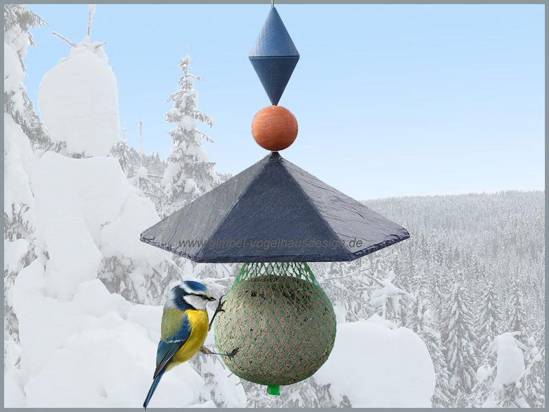 Pavillon 6-Eck, 21 cm, Kugel-Kegel,rot-blau, Hintergr._cl