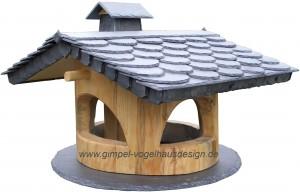 handgefertigtes Vogelfutterhaus, Vogelhäuser aus Naturholz und Schiefer mit Futterspeicher