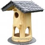 Vogelfutterhaus handgefertigt, Vogelhäuser aus Naturholz und Schiefer